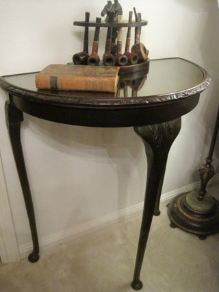 Vintage Solid Mahogany English Demi Luna Half Moon Hall Table Queen Anne Legs photo