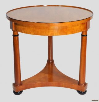 Round Beidermeier Style Maple Side Table With Inlay photo