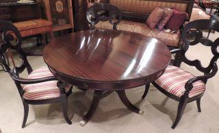 Mahogany Round Regency - Style Dining Table (53