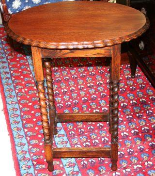 Gorgeous English Antique Barley Twist Oak Side Table photo