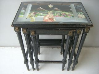 Great Old Set Of 3 Painted Chinese Tables As/1632 photo