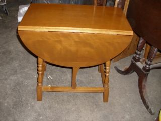 Vintage Small Solid Maple Drop Leaf Table photo