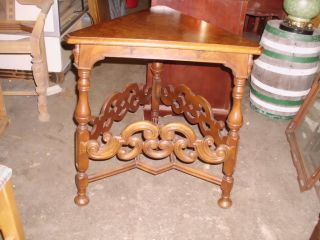 Kittinger Carved Inlaid Triangle Walnut Table photo