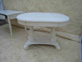 Creamy White Oval Library Hall Table photo