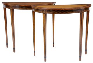 A Pair Of Small Demi Lune Satinwood And Ebony Consul Tables photo