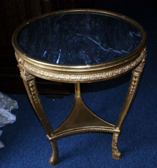 Pair Of Side Tables Carve 24kt Gild Gold Black Granite photo