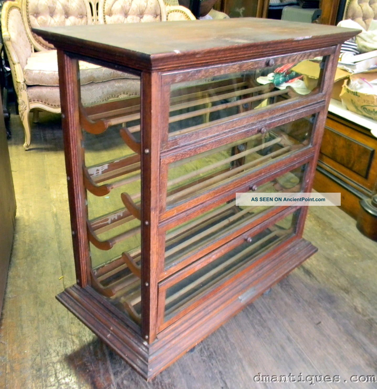 - Antique Country Store Solid Oak Ribbon Display Cabinet Russell Ilion Ny
