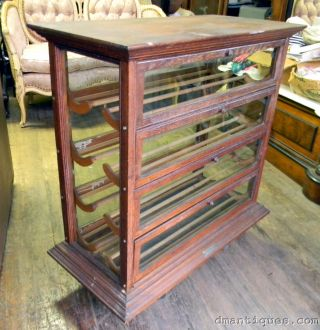Antique Country Store Solid Oak Ribbon Display Cabinet Russell Ilion Ny photo