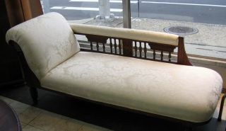 Antique Victorian Eastlake Chaise Lounge Settee With Carving photo