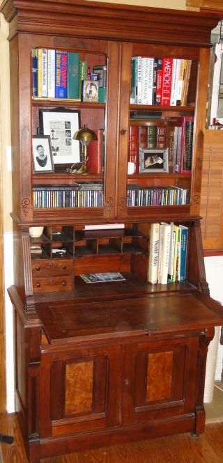 1800 ' S Walnut Antique Secretary Slant Front Desk Bookcase photo