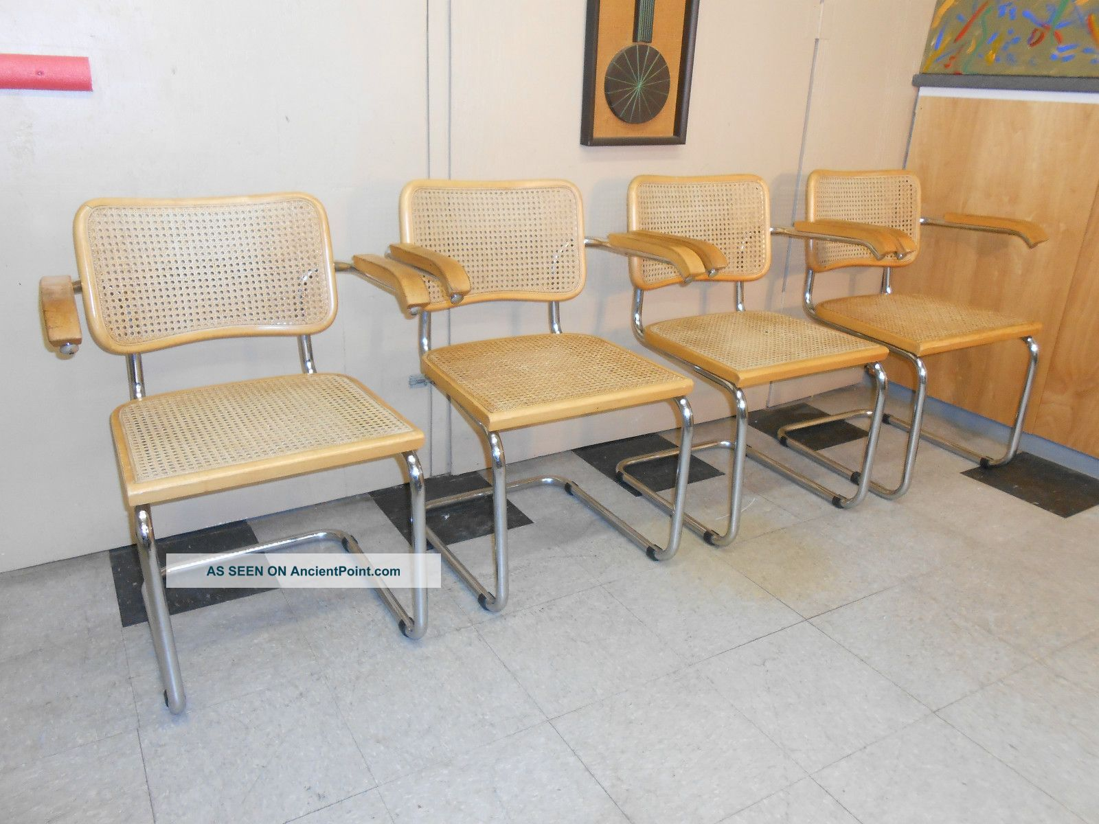 1960 ' S Marcel Breuer Cesca Arm Chair Set Of Four Mid Century Modern Retro Post-1950 photo