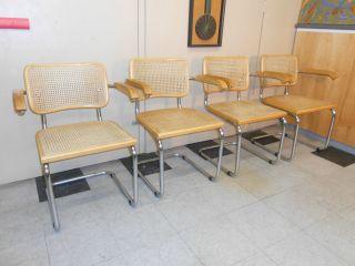 1960 ' S Marcel Breuer Cesca Arm Chair Set Of Four Mid Century Modern Retro photo