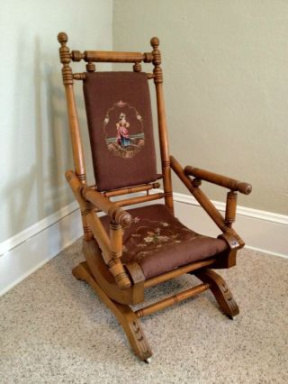 Antique Vintage Needlepoint Platform Maple Spindle Rocker Rocking Chair photo