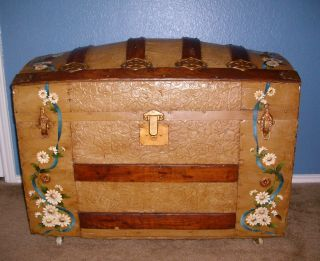 Antique Dome Top Steamer Trunk photo