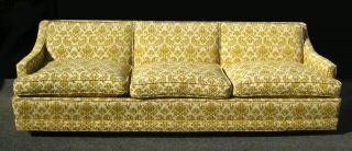 Vintage Yellow Mid Century Modern Sofa / Couch Hollywood Regency Retro photo