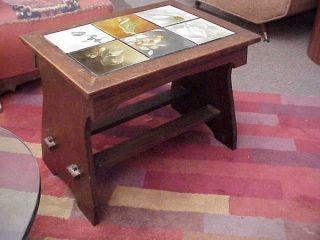 Antique Arts & Crafts Mission Oak Tile Top Table Bench Stickley Limbert Era photo