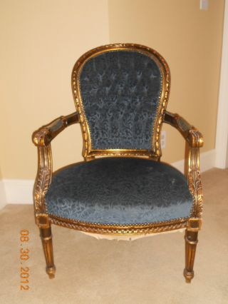 Pair Of Exquisite Hand Carved French Arm Chairs photo