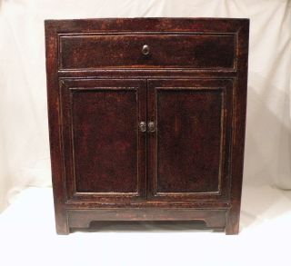 Chinese Cabinet From Northern China,  Alligator Lacquered Finish,  Early 20th Cent photo