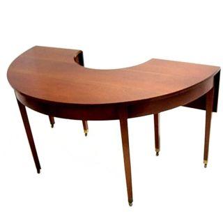 1940s Semi - Circular Table,  Solid Walnut & Brass Casters photo