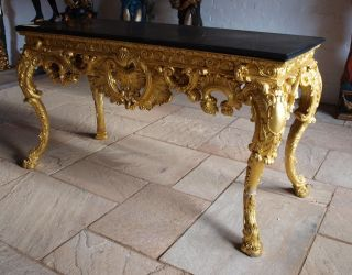 Stunning Large Bronze & Gold Leaf Ornate Centre Table With Solid Marble Top photo