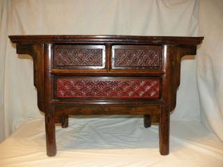 Chinese Alter Table/cabinet Elmwood / Rosewood,  Suchow Provence,  Ca.  1900 photo