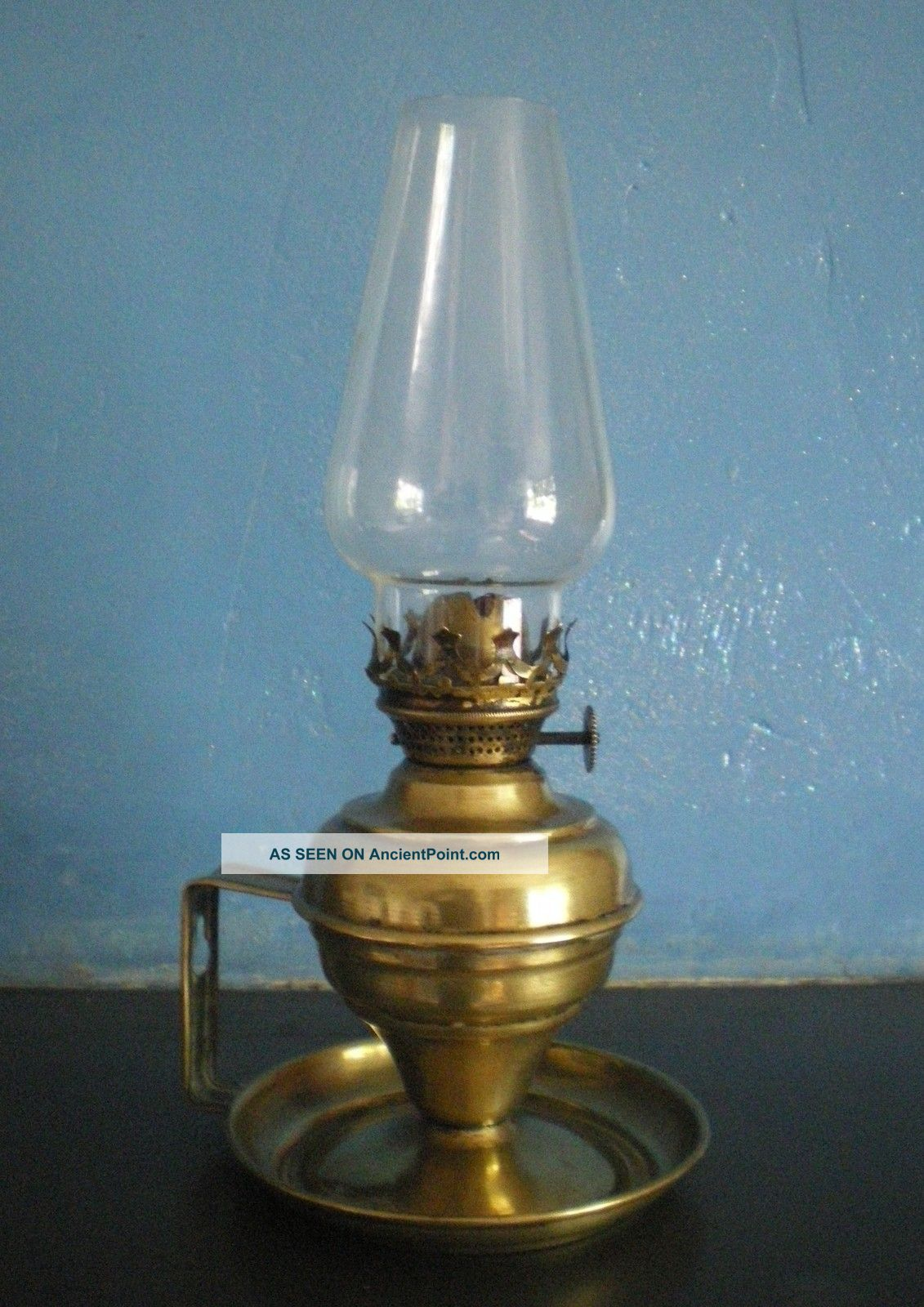 Victorian Brass Oil Lamp Chamber Candle Stick Candlestick Lamps photo