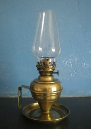 Victorian Brass Oil Lamp Chamber Candle Stick Candlestick photo