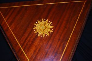 Triangular Drop Leaf Table,  Mother Of Pearl Decoration,  Circa.  1900 photo