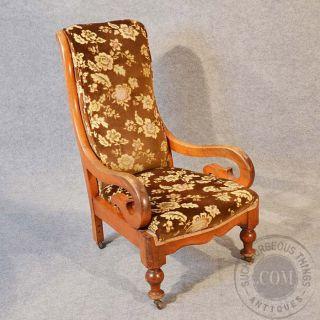 Antique Chair Side Bedroom Hall Salon Nursing Mahogany Frame C1880 photo