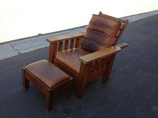 Antique Morris Chair + Ottoman Oak Leather Bungalow Style Limbert Stickley 20 ' S photo
