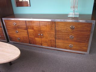 Wonderful Mod Walnut + Chrome Triple Dresser/cabinet C1960s photo