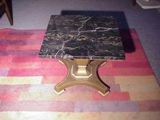 Vintage Hollywood Regency Italian Marble Side End Table photo