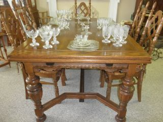 Antique Flint & Horner Solid Oak Pull Out Leaf Table Great Simple Carved Pick Up photo