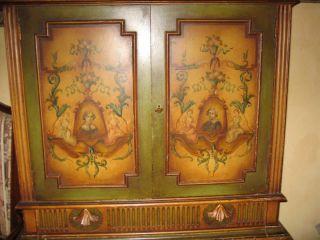 Elegant Wood Floral Inlaid Intertaiment Cabinet photo