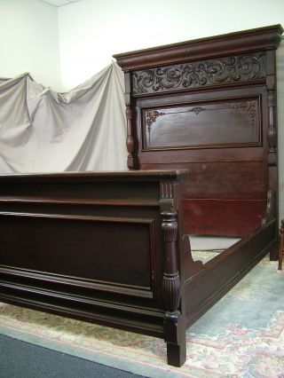 Antique Highback Solid Mahogany Art Nouveau Carved Bed Bedroom C1890s Victorian photo