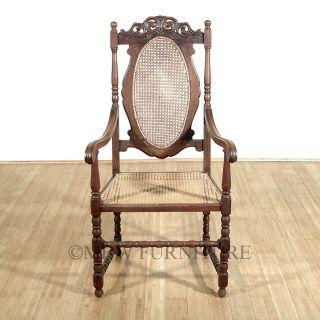Antique English Solid Oak Jacobean Rattan High Back Arm Chair C1920's P65c photo