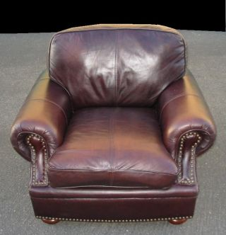 Burgundy/ Brown Leather Single Sofa Chair With Decorative Nails photo