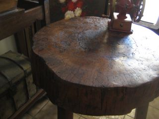 Antique 18oo ' S Primitive Butcher Block Table Amazing One Of A Kind Solid Piece photo