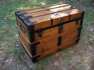 Antique 1800s Stage Coach Chest Steamer Trunk Restored Orig Hardware Latches photo