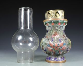 Chinese Old Cloisonne Handwork Painting Flower Oil Lamp Decoration photo