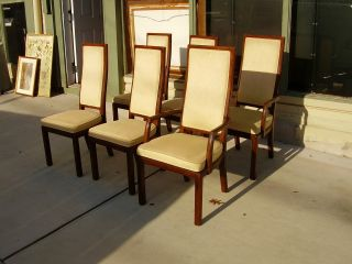 Set 6 Henredon Artefacts Scene One Collection Wood & Upholstered Dining Chairs photo