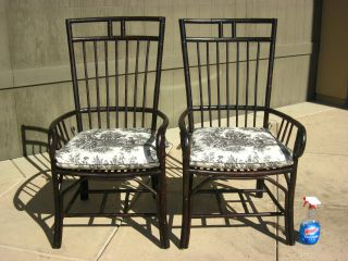 Pair Vintage Black Throne French Country Cottage Bamboo Arm Chairs Toile Fabric photo