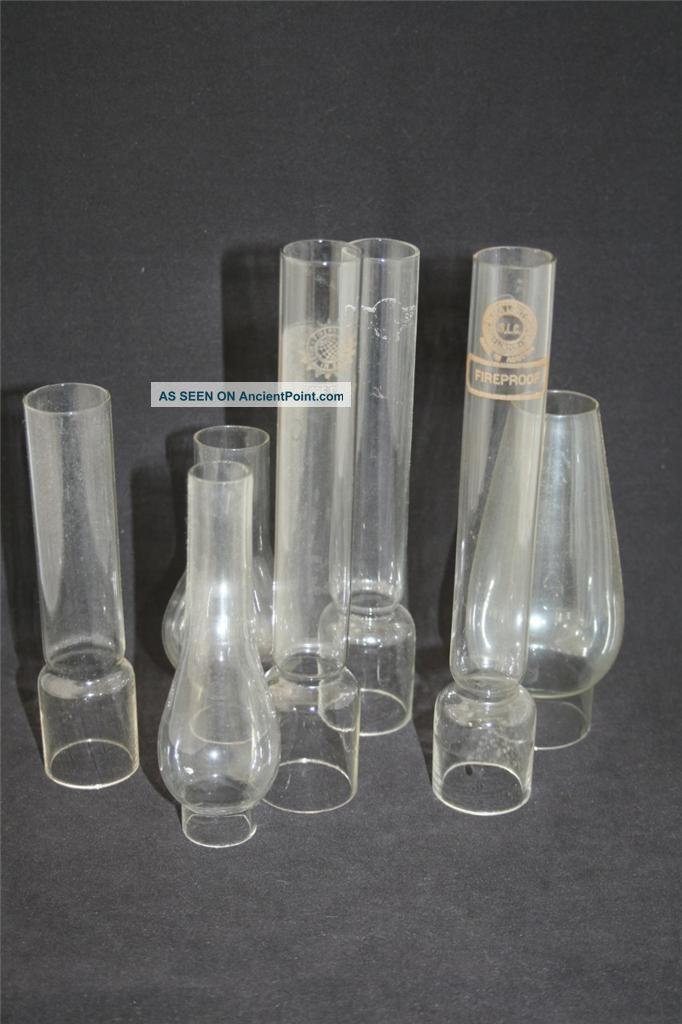 Set Of 7 Vintage/antique Glass Chimney - Funnels For Oil Lamps Edwardian (1901-1910) photo