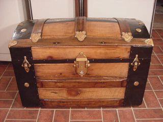 Refinished Victorian Dome Top Steamer Trunk Antique Chest With Key And Tray photo