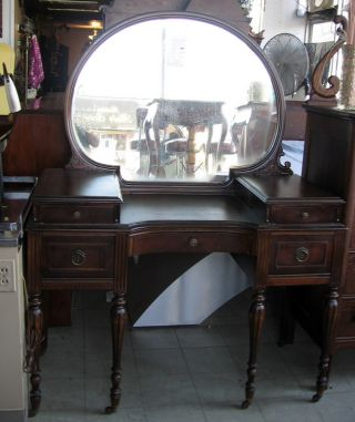 Antique 1920 - 1930s Regency Style Vanity Dresser Desk With Clam Shell Mirror photo