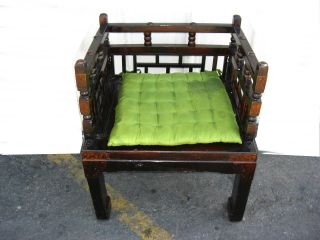 Gorgeous Vintage Spanish Revival Style Accent Arm Chair W/ Lime Green Cushion photo