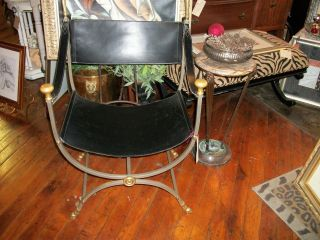 Vintage Rare Neo Classic Revival Art Deco Black Leather Rams Head Accent Chair photo