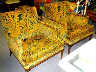 Pair Of Wild Mid - Century Paisley Upholostered Chairs Pucci Print photo