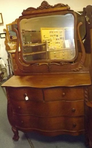 Antique Oak Serpentine Front Dresser & Mirror,  Oak Dresser To Refinish photo
