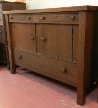 Mission Arts And Craft Oak Sideboard photo